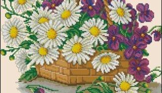 Daisies in a basket-cross-stitch design