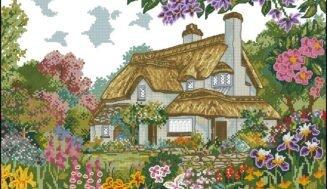 English cottage-cross-stitch design