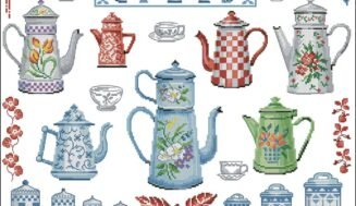 Teapots sampler-cross-stitch design